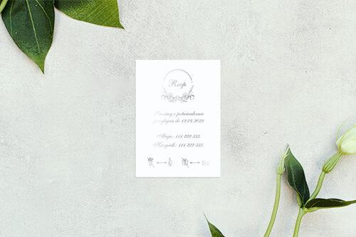 rsvp do zaproszenia minimalistyczne ornament - srebrne
