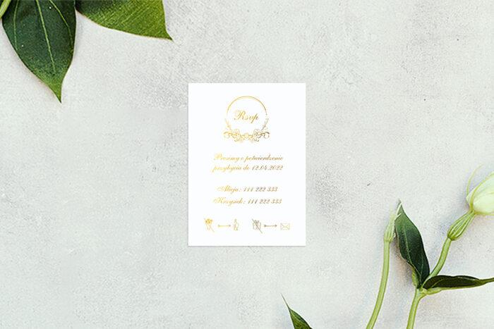 rsvp do zaproszenia minimalistyczne ornament - złote