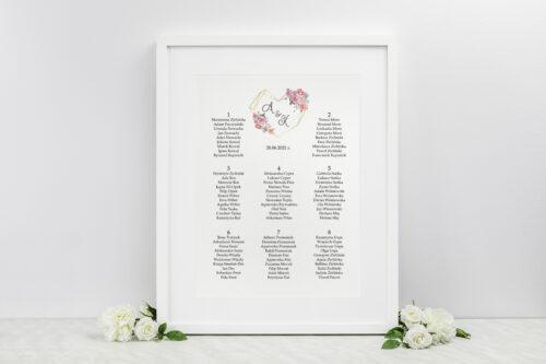 Plan stołów weselnych do zaproszenia ze zdjęciem i sznurkiem – Różowy bukiet w sercu