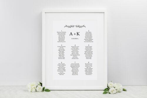 plan stołów weselnych do zaproszenia minimalistyczne delikatne