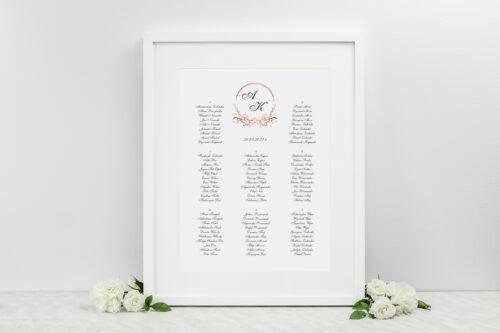 plan stołów weselnych do zaproszenia minimalistyczne ornament