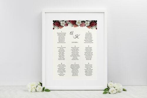 Plan stołów weselnych do zaproszenia Boho Eleganckie – Czerwono biały bukiet