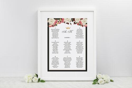 Plan stołów weselnych do zaproszenia z lakiem – Szykowne z różami