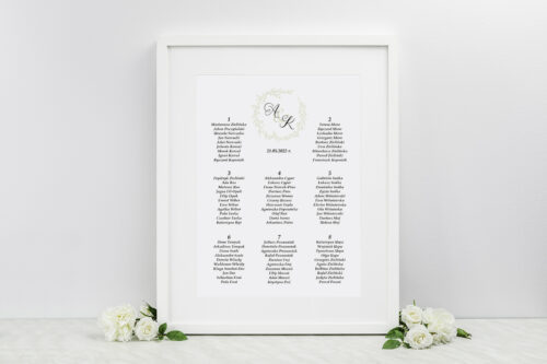 Plan stołów weselnych do zaproszenia eco z koronkowym kółeczkiem – Wianuszek