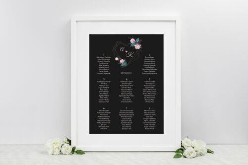 Plan stołów weselnych do zaproszenia Geometryczne Serce – Różowe Kwiaty Ciemne