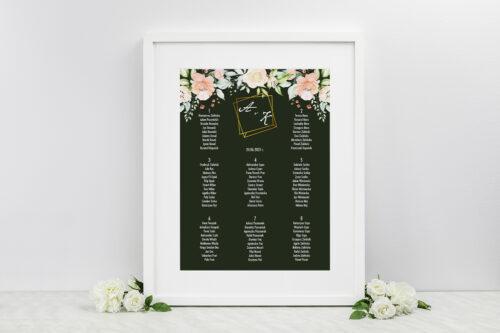 Plan stołów weselnych do zaproszeń Kontrastowe z kwiatami - Jasna kompozycja kwiatowa