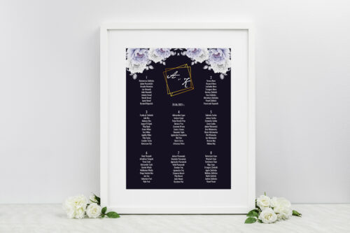 Plan stołów weselnych do zaproszeń Kontrastowe z kwiatami - Niebieskie róże