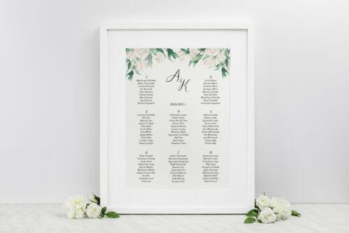 Plan stołów weselnych - Kwiatowe Gałązki - Białe Róże
