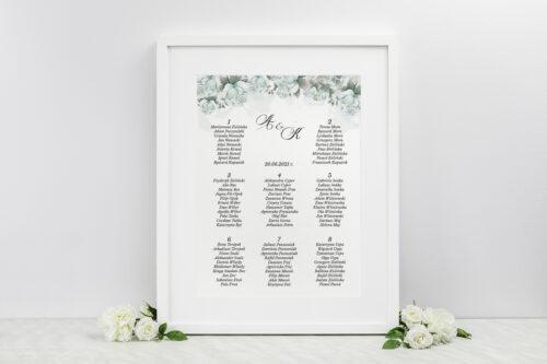 Plan stołów weselnych - Kwiatowe Gałązki - Błękitne Róże