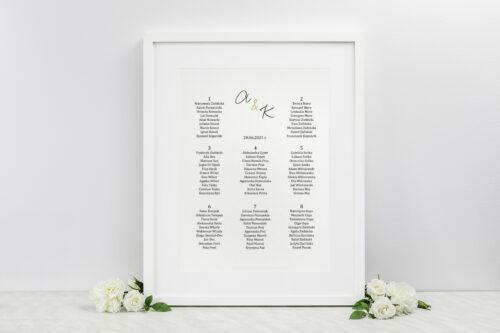 Plan stołów weselnych do zaproszenia Minimalistyczne ze złotem – Eleganckie
