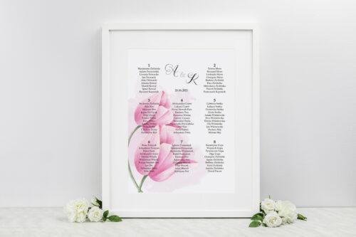 Plan stołów weselnych do zaproszenia Namalowane Kwiaty - Tulipanowe