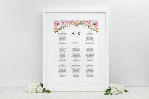 Plan stołów weselnych do zaproszenia ze sznurkiem – Różowe piwonie