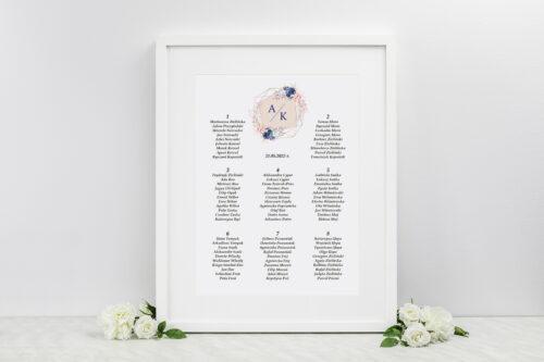 Plan stołów weselnych - Pionowe ze wstążką – Granatowy akcent