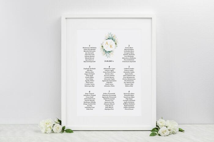 plan-stolow-weselnych-pionowe-ze-wstazka-listki-ze-zlotem-dodatki-ramka-papier-ecruefakturowany