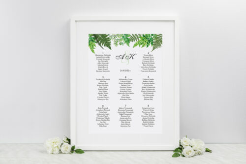 Plan stołów weselnych do zaproszenia z kółeczkiem na sznurku jutowym – Paprocie