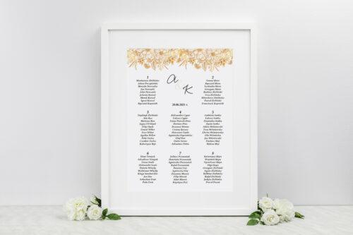 Plan stołów weselnych do zaproszenia jednokartkowe z Kwiatami - Złote kwiaty