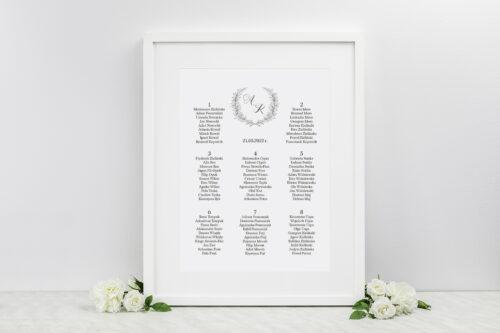 plan stołów weselnych do zaproszenia minimalistyczne laur