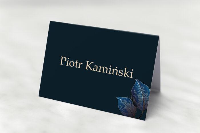 winietka-slubna-do-zaproszenia-geometryczne-nowoczesne-niebieskie-listki-ciemne-papier-matowy