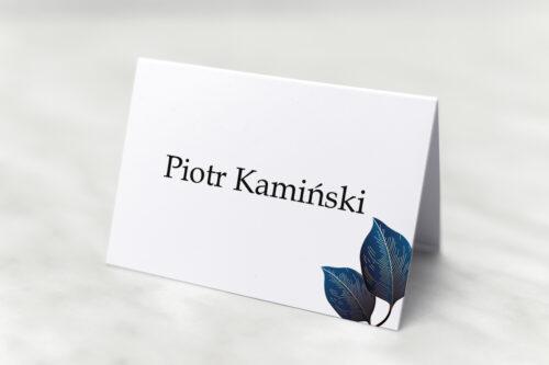 winietka weselna geometryczne nowoczesne niebieskie listki