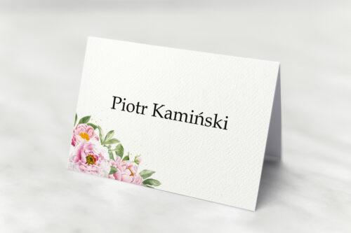 Winietka ślubna - Ze sznurkiem – Różowe piwonie