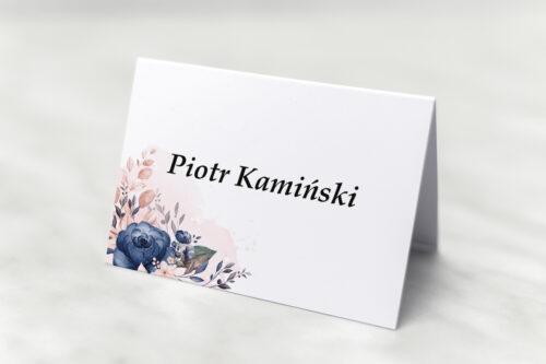 Winietka ślubna - Pionowe ze wstążką – Granatowy akcent