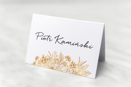 Winietka ślubna do zaproszenia jednokartkowe z Kwiatami - Złote kwiaty