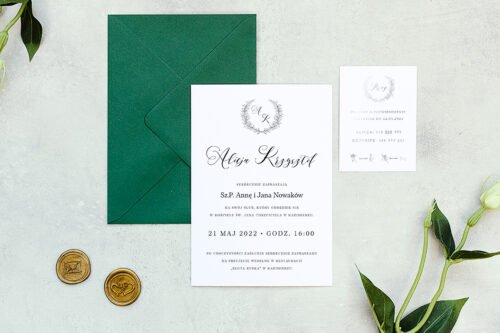 zaproszenie ślubne minimalistyczne z laurem