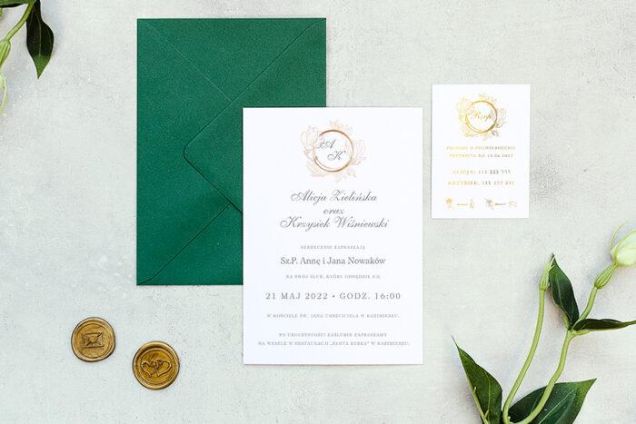 zaproszenie ślubne minimalistyczne z magnolią