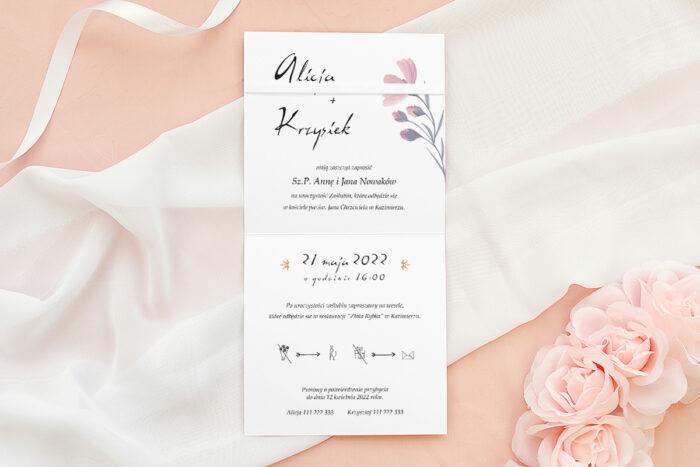 Zaproszenie ślubne Bukiet ze wstążką - Delikatnie różowy
