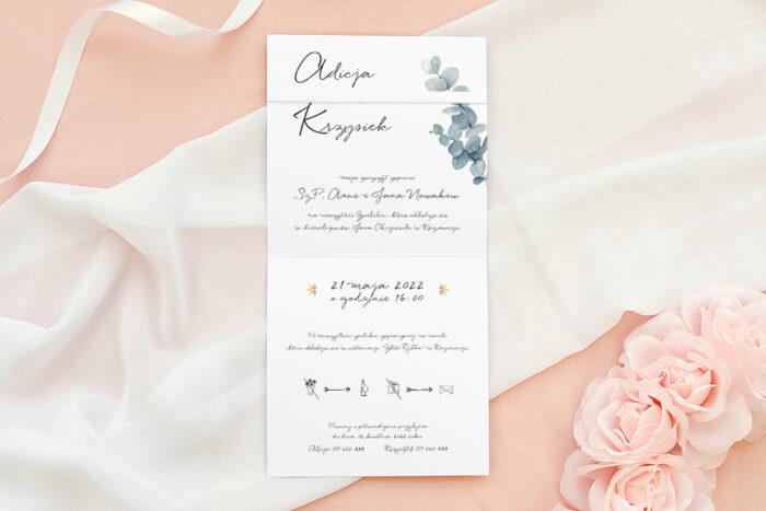 Zaproszenie ślubne Bukiet ze wstążką - Eukaliptus