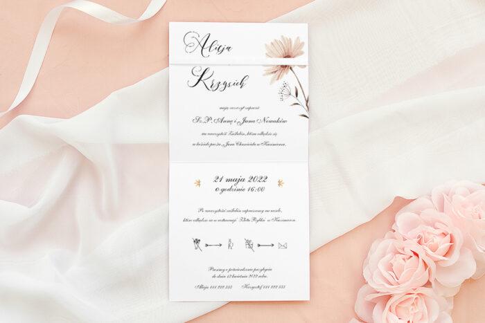 Zaproszenie ślubne Bukiet ze wstążką - Margaretka