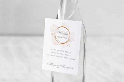 zawieszka na alkohol do zaproszenia minimalistyczne magnolia
