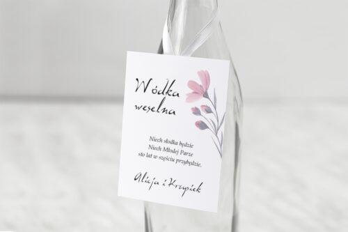 Zawieszka na alkohol do zaproszeń Bukiet ze wstążką - Delikatnie różowy