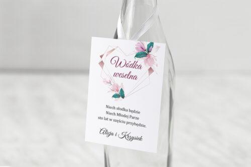 Zawieszka na alkohol do zaproszeń Geometryczne Serce – Różowe Kwiaty Jasne