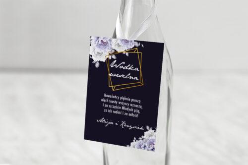 Zawieszka na alkohol do zaproszenia Kontrastowe z kwiatami - Niebieskie róże