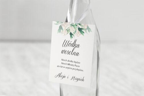 Zawieszka na alkohol - Kwiatowe Gałązki - Białe Róże