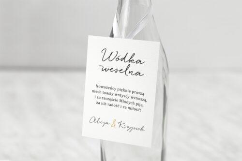 Zawieszka ślubna na alkohol - Minimalistyczne ze złotem – Eleganckie